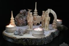 Baumscheiben Set mit geschnitzten Bergmännern